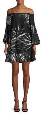 Halston H Off-The-Shoulder Bell-Sleeve Dress