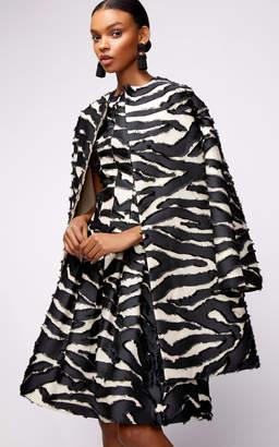 Oscar de la Renta Straight Neck Paneled Zebra Print Midi Dress