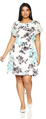 Jessica Howard Women's Plus Size Line Dress with Butterfly Sleeves