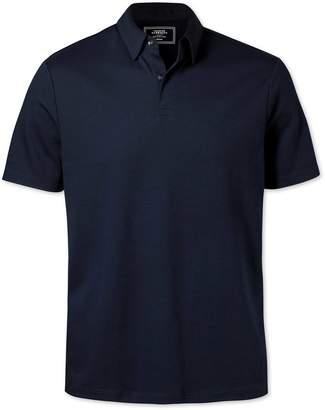 Charles Tyrwhitt Plain Navy Jersey Cotton Polo Size XXL