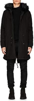 Mr & Mrs Italy Men's Fur-Lined Cotton-Canvas Mini Parka - Black