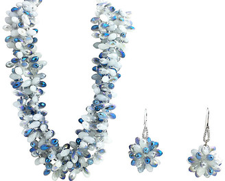 One Kings Lane Vintage Faceted Blue Crystal Necklace & Earrings - Owl's Roost Antiques