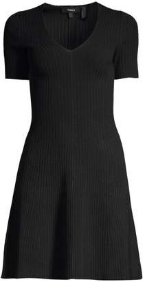 Theory Rib-Knit Fit-&-Flare Dress