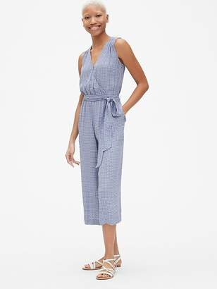 Gap Sleeveless Print Tie-Waist Wide-Leg Crop Jumpsuit