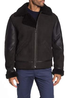 BOSS Cevolan Genuine Dyed Sheep Shearling Lined & Trim Suede Leather Jacket