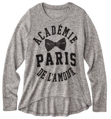 Junior's Paris Graphic Sweater - Gray