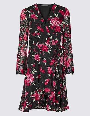 Marks and Spencer Spotted Long Sleeve Wrap Dress