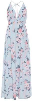 Quiz TOWIE Blue & Pink Floral Halter Neck Maxi Dress