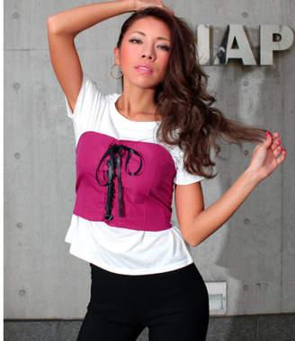 ANAP (アナップ) - anap Latina UネックTシャツ×レースアップビスチェSET