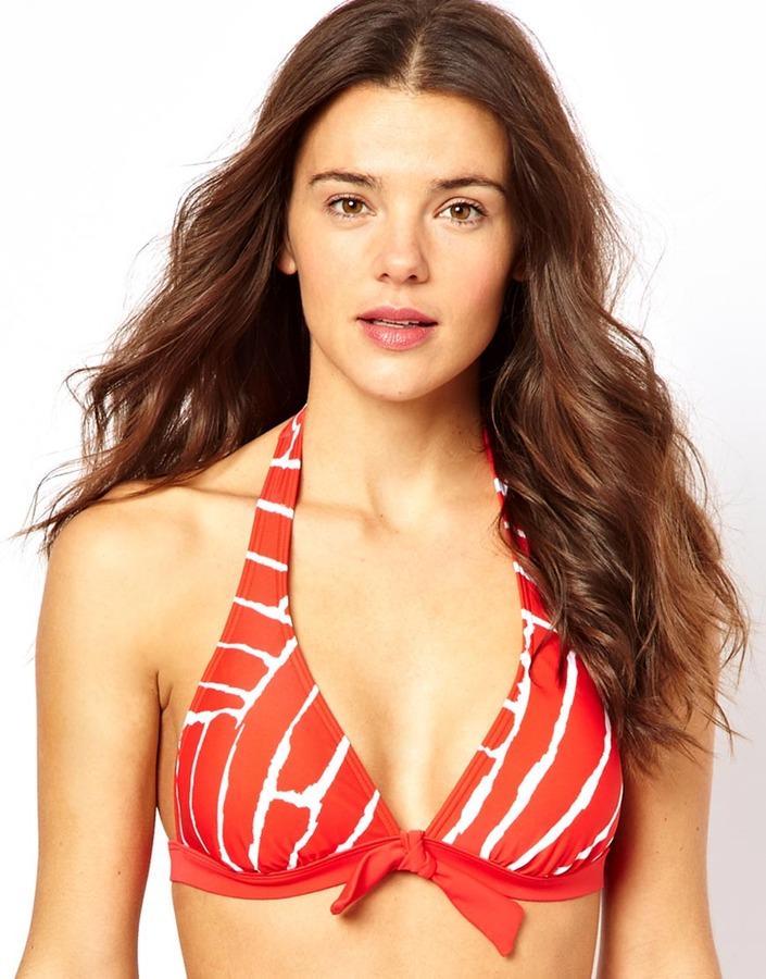 Esprit Glass Print Padded Halter Bikini Top