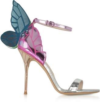 Sophia Webster Silver Mirror Leather High Heel Chiara Sandals