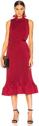 Tibi Pleated Sleeveless Dress with Belt in Cherry Red | FWRD