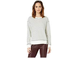 Vince Camuto Long Sleeve Stripe Jersey Rib Hem Side Zip Pullover