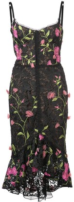 Marchesa fitted midi dress