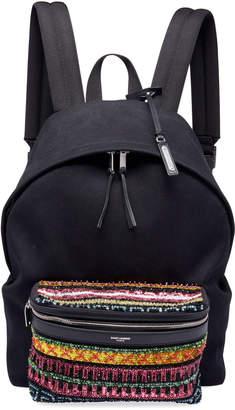 Saint Laurent Men's City Cotton Bead-Pocket Backpack