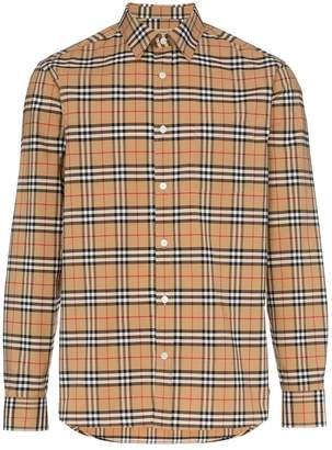 Burberry check print button down cotton blend shirt