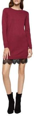 BCBGeneration Lace-Trimmed Sweater Dress