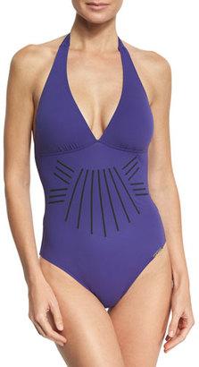 Lise Charmel Esprit Aborigine Halter One-Piece Swimsuit, Blue $229 thestylecure.com