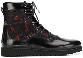 Emporio Armani camouflage panel combat boots