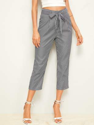 Shein Vertical Striped Belted Capris Pants