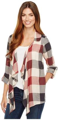 Bobeau B Collection by Cropped Plaid Trench Jacket Women's Coat
