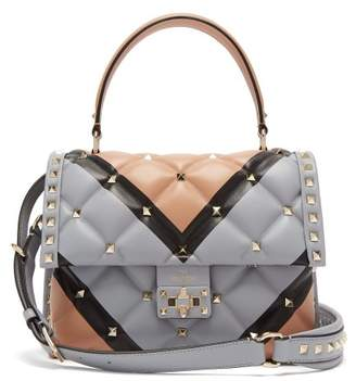 Valentino - Candystud Quilted Leather Shoulder Bag - Womens - Nude Multi