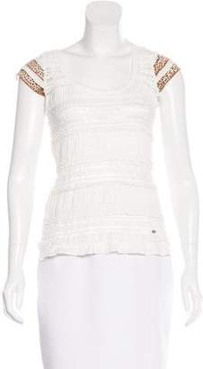 Just Cavalli Lace-Trimmed Short Sleeve Top