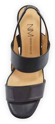Neiman Marcus Levina Leather Slingback Sandals, Black