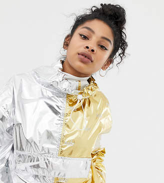 Nike Silver And Gold Contrast And Repeat Metallic Raincoat