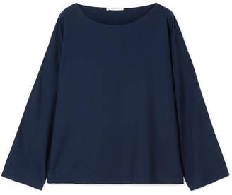 The Row Dylia Oversized Stretch-silk Blouse - Navy
