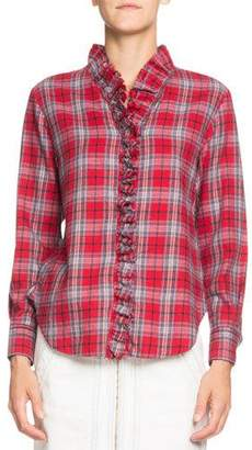 Etoile Isabel Marant Dawendy Ruffle Plaid Long-Sleeve Shirt