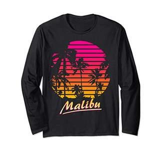 Cool Malibu 80s Palm Trees Summer Sunset Long Sleeve T-Shirt
