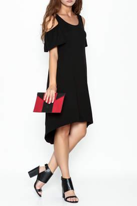 Bobeau Black Cold Shoulder Dress