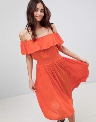 Brave Soul Petal Midi Dress with Frill Bardot