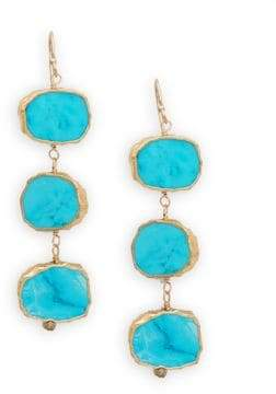 Turquoise Three-Tiered Drop Earrings