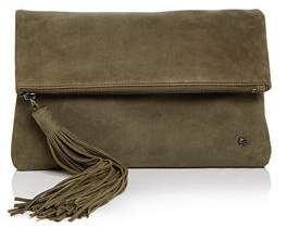 Halston Christie Foldover Nubuck Leather Clutch