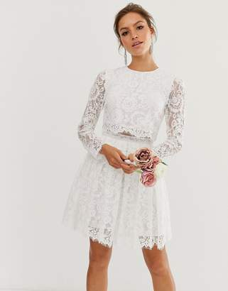 Asos Edition EDITION crop top lace mini wedding dress
