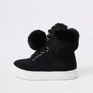 River Island Mini girls black faux fur high top sneakers
