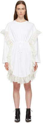 See by Chloe White Ruffle Jersey Dress