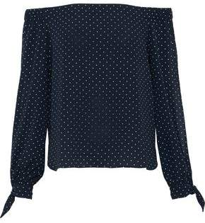 Bailey 44 Off-The-Shoulder Polka-Dot Crepe De Chine Top