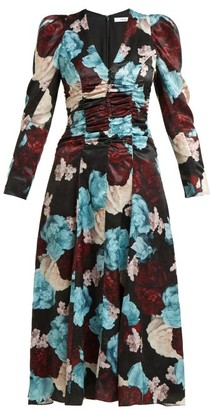 Erdem Annalee Floral Print Satin Dress - Womens - Blue Multi