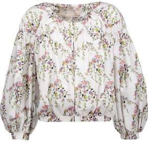 Giambattista Valli Gathered Floral-Print Shell Jacket