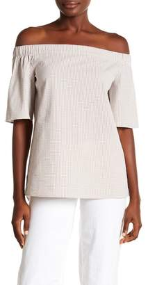 Lafayette 148 New York Livvy Off-the-Shoulder Gingham Top