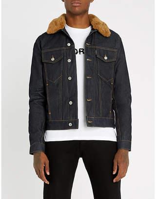 Sandro Shearling-collar denim jacket