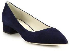 Giorgio Armani Asymmetrical Suede Pointe-Toe Flats $575 thestylecure.com