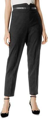 Karen Millen Faux-Leather Trim Tapered Pants