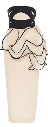 Leal Daccarett Peonia Ruffle-Embellished Strapless Pencil Dress Size: