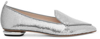 Nicholas Kirkwood Beya Sequined Canvas Point-toe Flats - Silver