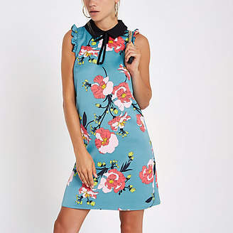 River Island Blue floral sleeveless swing dress