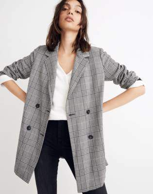 Madewell Caldwell Double-Breasted Blazer in Plaid